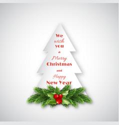 Paper fir-tree with christmas decorative fir vector