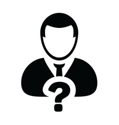 Person icon with question mark symbol with male vector