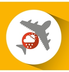 Plane travel weather forecast rain sun icon vector