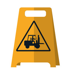 Plastic caution emblem and laborer with forklift vector
