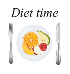 plate with fruits diet concept vector image
