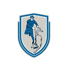 Policeman With Police Dog Canine Crest Retro vector image