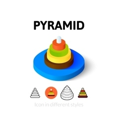 Pyramid icon in different style vector image