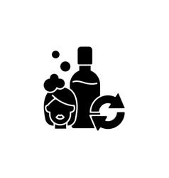 Refillable shampoo bottle black glyph icon vector