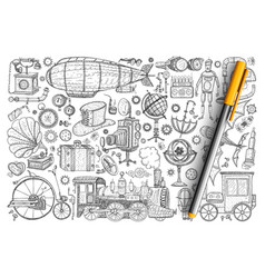 retro vintage innovations doodle set vector image