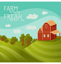 Rural landscape with farmhouse fields and trees vector