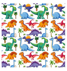 Seamless pattern with various dinosaurs vector
