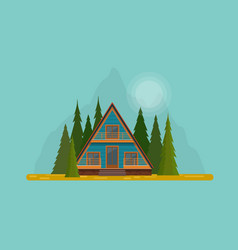secluded wooden hut in middle fir forest vector image