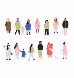 set cartoon people in winter clothes vector image