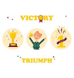 Set of winner badges girl with golden trophy vector