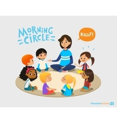 Smiling kindergarten teacher talks to children vector