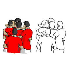 soccer players in red jersey shirts celebrating vector image
