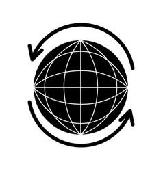 sphere planet with arrow around vector image