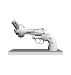 Statue revolver with twisted barrel no to vector