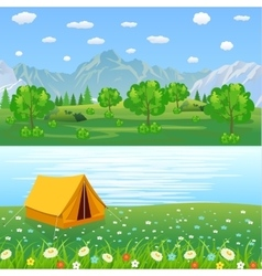 Tent Camping Tourist Forest Mountain Expedition vector