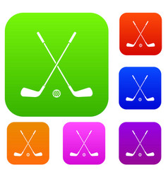 two crossed golf clubs and ball set collection vector image