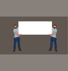 two man holding banner vector image