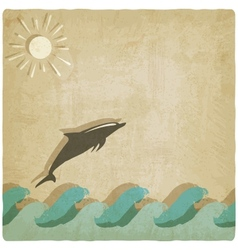 Vintage background with dolphin vector