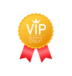 Vip members only gold ribbon label gold and vector