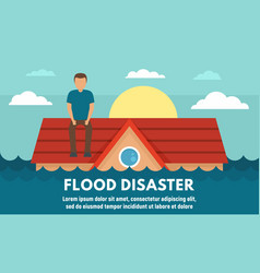 Water flood disaster concept banner flat style vector