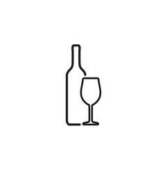 wine bottle and wineglass icon isolated on white vector image