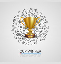 winner cup set icons vector image