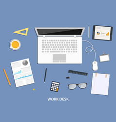 workspace flat desktop design with business icons vector image