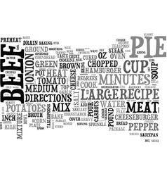 beef pot pie recipe homemade beef pot pie text vector image vector image