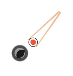 chopsticks holding sushi roll vector image