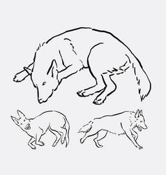 dog activity animal line art style vector image