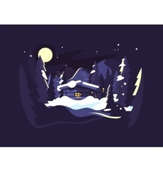 House in woods winter vector image vector image