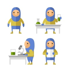 Set of Scientist Characters in Lab Flat Style vector image vector image
