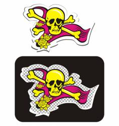 skull with crossbones and roses vector image vector image