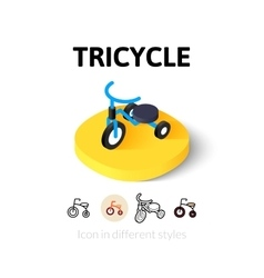 Tricycle icon in different style vector