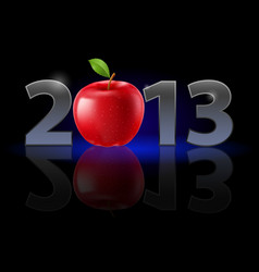 twenty thirteen year red apple on black vector image vector image