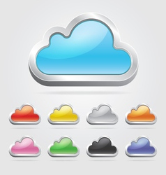 Cloud icon button set vector image vector image