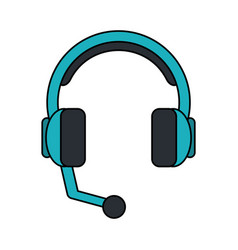 color image cartoon headphones with microphone vector image