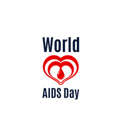 heart and blood drop icon for aids day vector image vector image