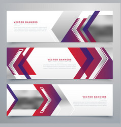 Modern business banners design set of three vector