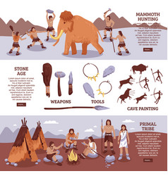 primal tribe people banners set vector image vector image