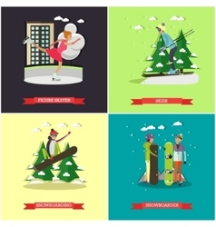 set of winter sports concept posters vector image vector image