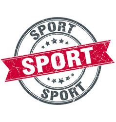 sport round grunge ribbon stamp vector image
