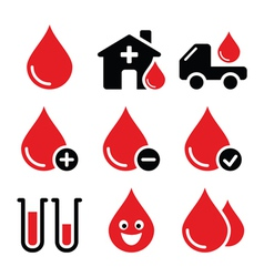 Blood donation icons set vector image