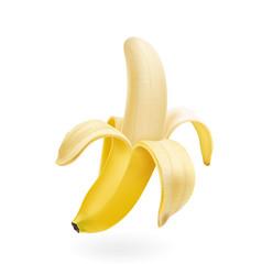 half peeled banana isolated realistic vector image vector image