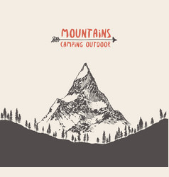hand drawn mountain landscape pine forest vector image vector image