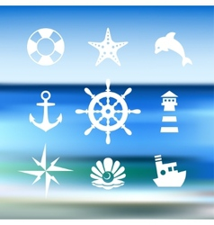 Sea icon collection isolated on a blue water vector image