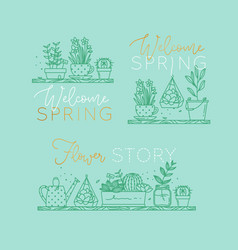 Shelf with flowers welcome spring turquoise vector