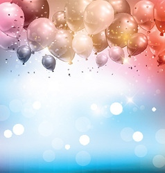Balloons and confetti background vector image vector image