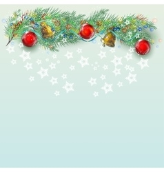 Christmas background with branch fir vector image vector image