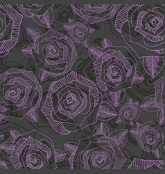 floral seamless pattern with roses hand drawing vector image vector image